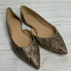 J.Crew Audrey Glitter Flats in Gold Brown, Size 9